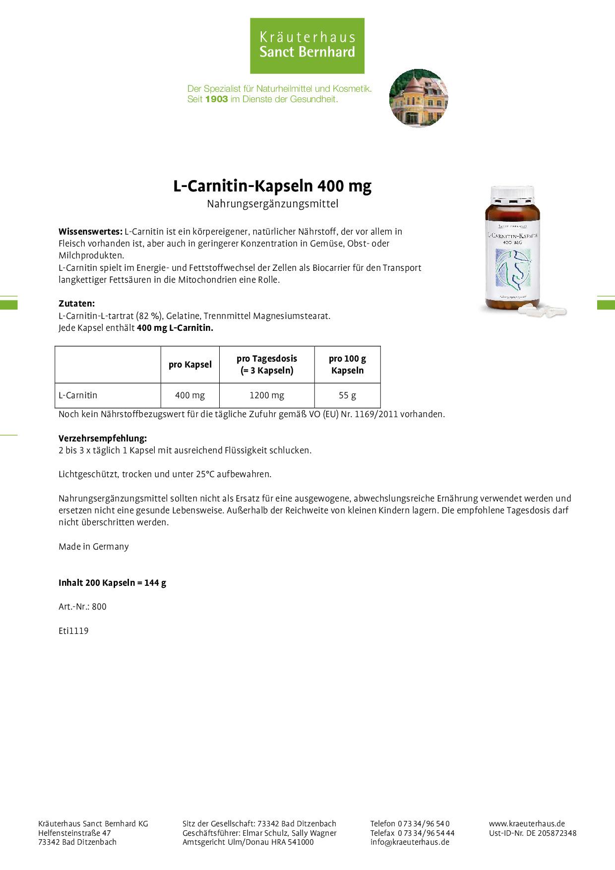 l carnitin abnehmen ohne sport
